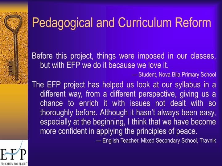 Pedagogical and Curriculum Reform