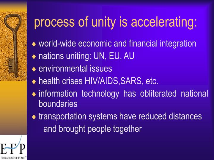 process of unity is accelerating: