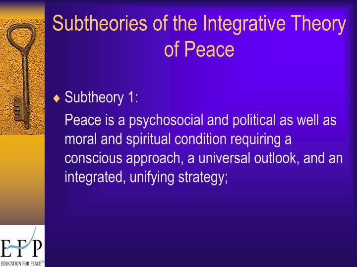 Subtheories of the Integrative Theory of Peace