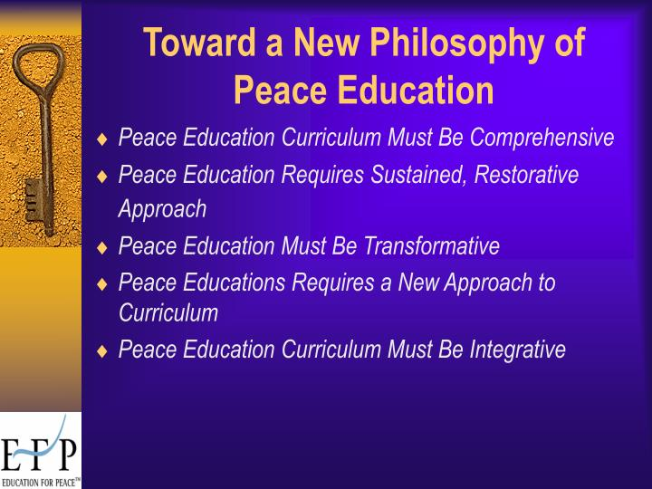 Toward a new philosophy of peace education