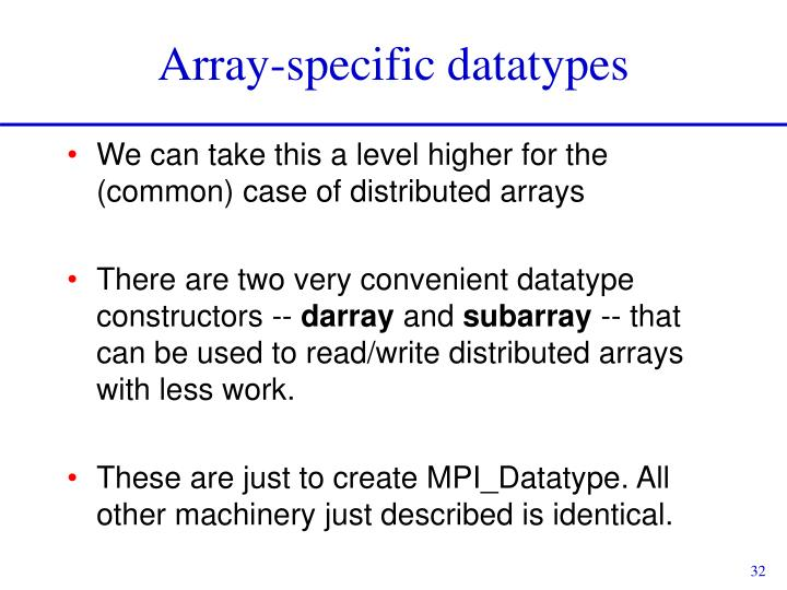 Array-specific datatypes
