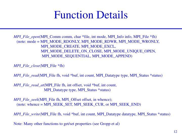 Function Details