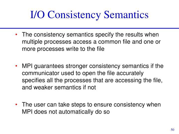 I/O Consistency Semantics