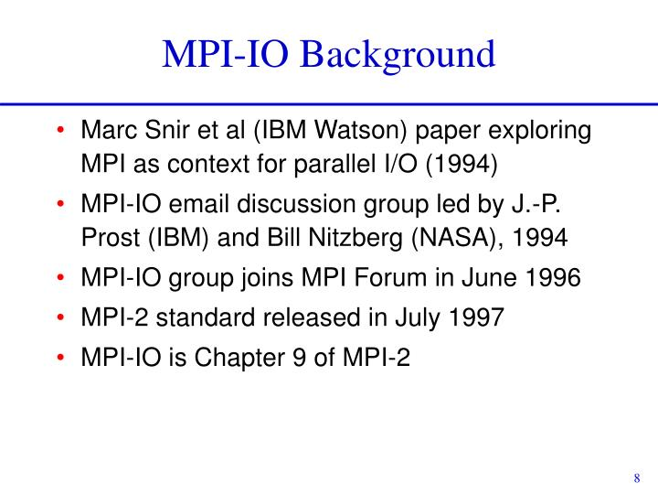 MPI-IO Background
