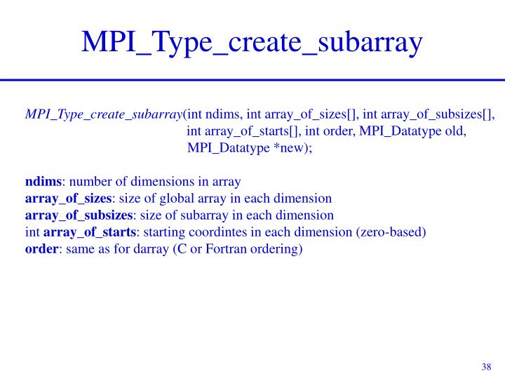 MPI_Type_create_subarray