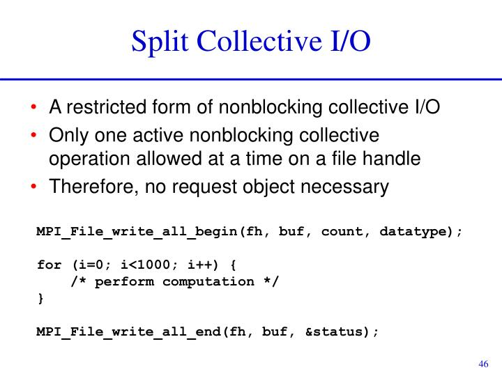 Split Collective I/O