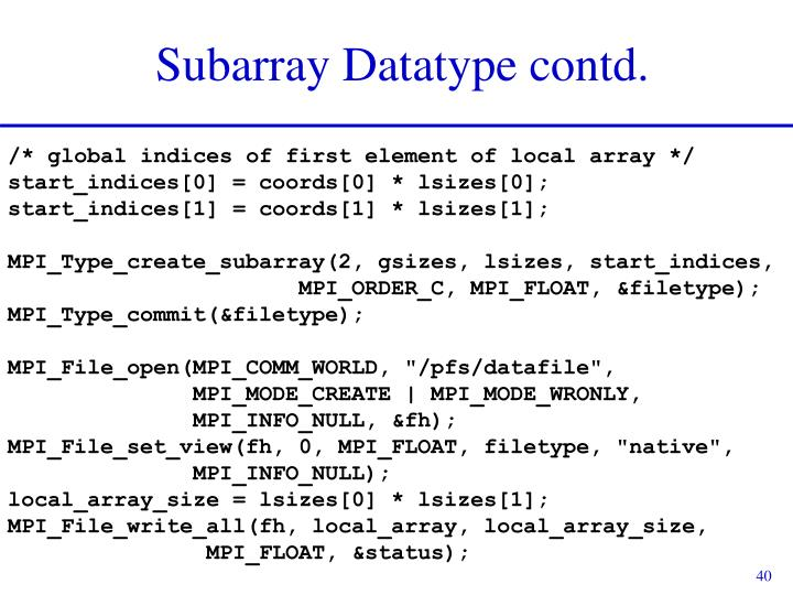 Subarray Datatype contd.