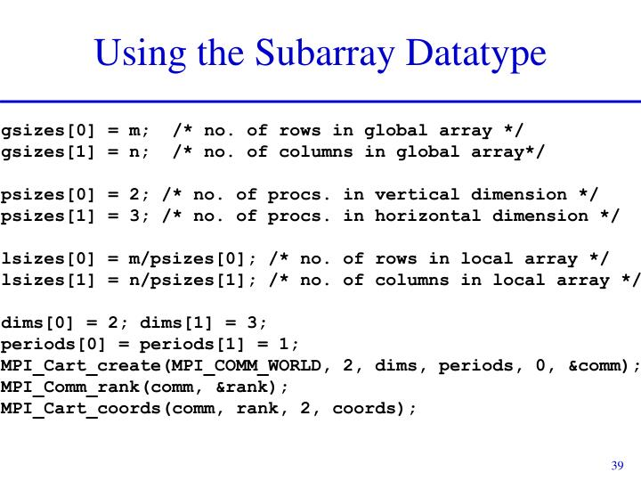 Using the Subarray Datatype