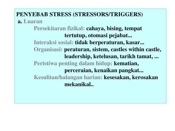 PENYEBAB STRESS (STRESSORS/TRIGGERS)