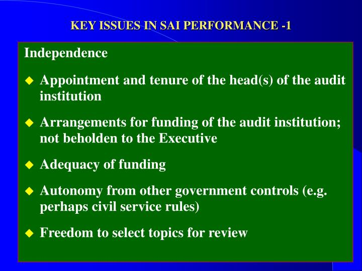 KEY ISSUES IN SAI PERFORMANCE -1