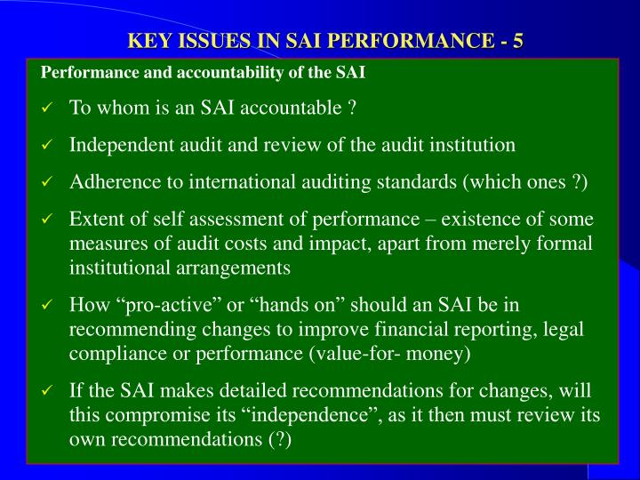 KEY ISSUES IN SAI PERFORMANCE - 5