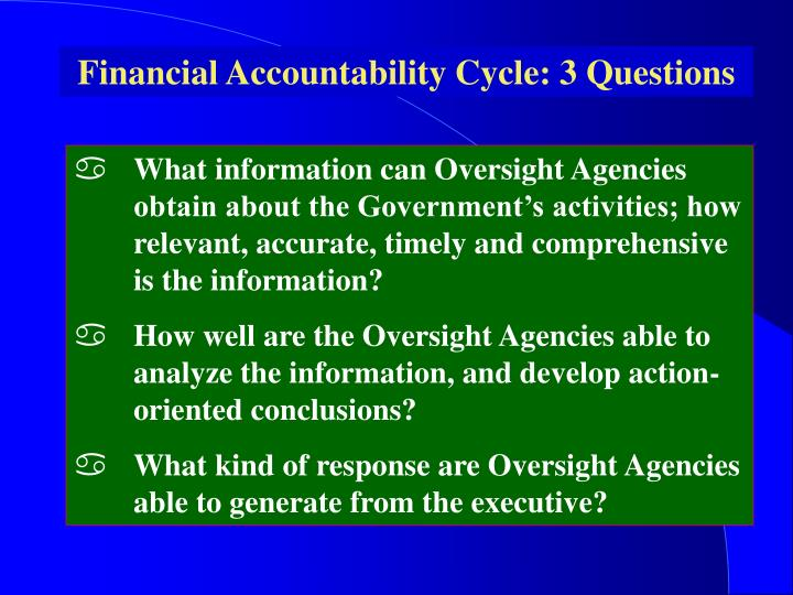 Financial Accountability Cycle: 3 Questions