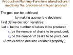 production planning furniture manufacturer modeling the problem as integer program