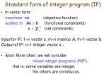 standard form of integer program ip1