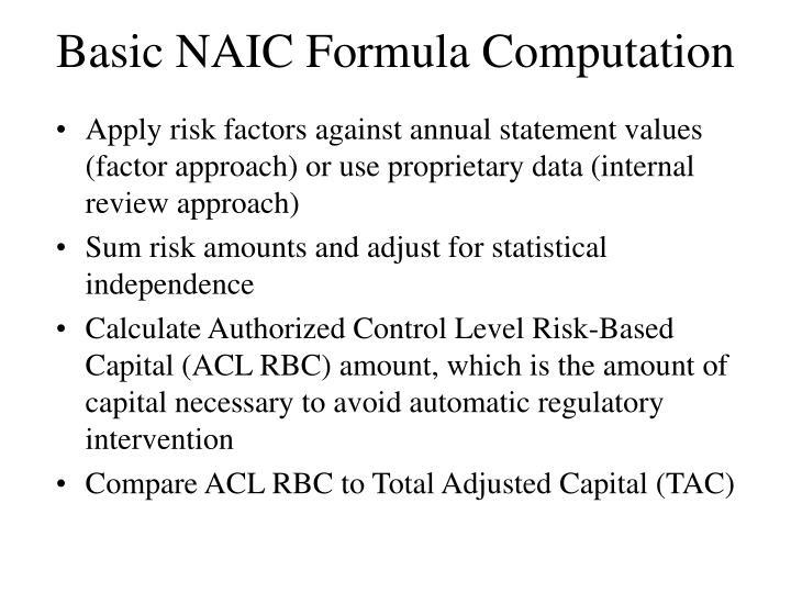 Basic NAIC Formula Computation
