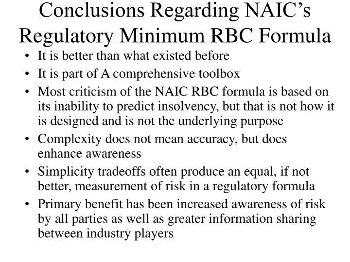 Conclusions Regarding NAIC's Regulatory Minimum RBC Formula