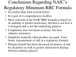 conclusions regarding naic s regulatory minimum rbc formula