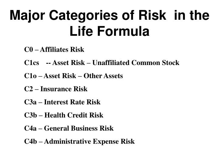 Major Categories of Risk  in the  Life Formula