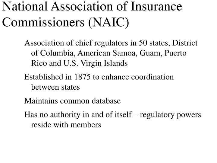 National association of insurance commissioners naic