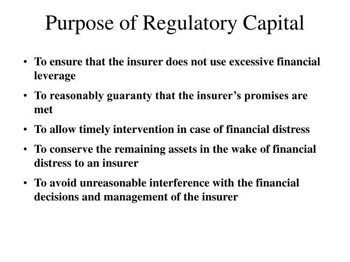 Purpose of Regulatory Capital