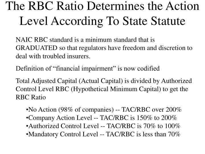 The RBC Ratio Determines the Action Level According To State Statute