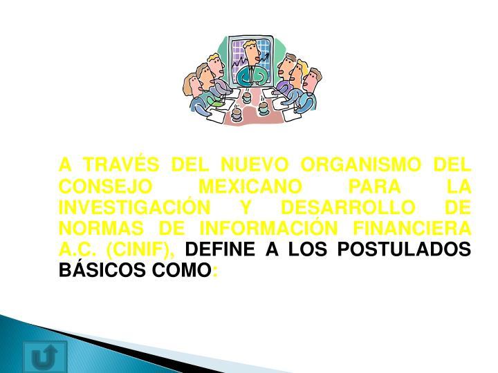 A TRAVÉS DEL NUEVO ORGANISMO DEL CONSEJO MEXICANO PARA LA INVESTIGACIÓN Y DESARROLLO DE NORMAS DE INFORMACIÓN FINANCIERA A.C. (CINIF),