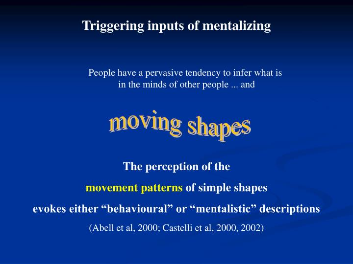 Triggering inputs of mentalizing