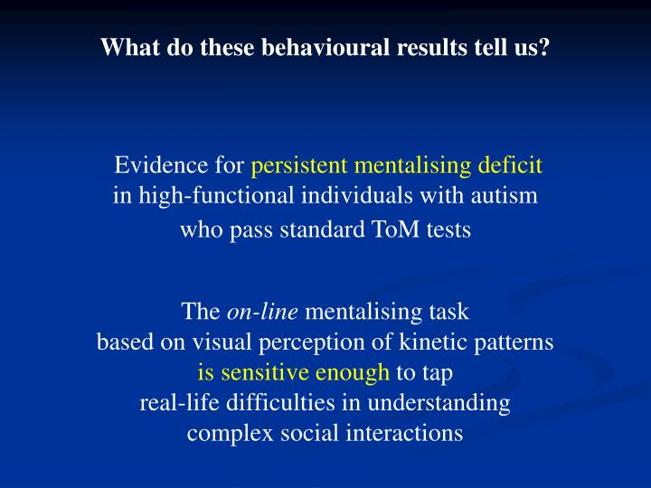 What do these behavioural results tell us?