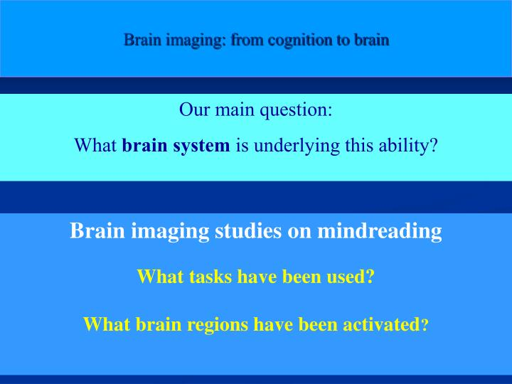 Brain imaging: from cognition to brain