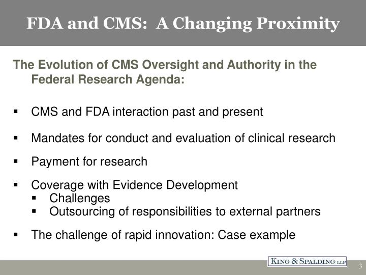 Fda and cms a changing proximity1