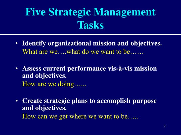 identify the strategic direction of an The process of deciding on a strategic direction by defining a company's mission and goals, its external opportunities and threats, and its internal strengths and weaknesses strategy implementation the process of devising structures and allocating resources to enact the strategy a company has chosen.