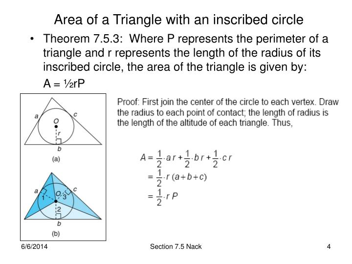 Area of a Triangle with an inscribed circle