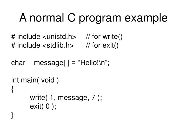 A normal C program example