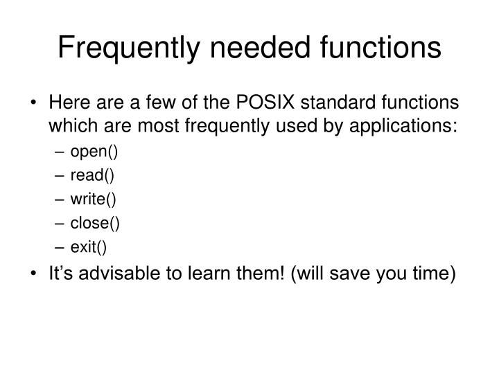 Frequently needed functions