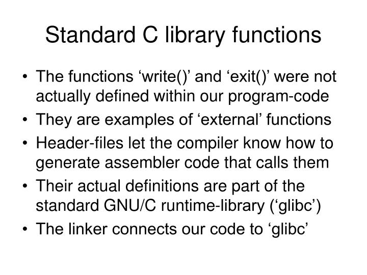 Standard C library functions