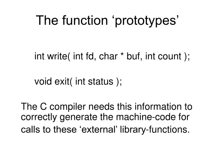 The function 'prototypes'