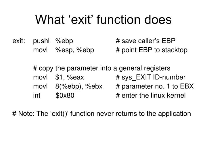 What 'exit' function does
