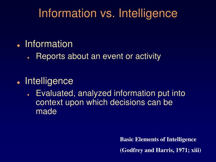Information vs intelligence