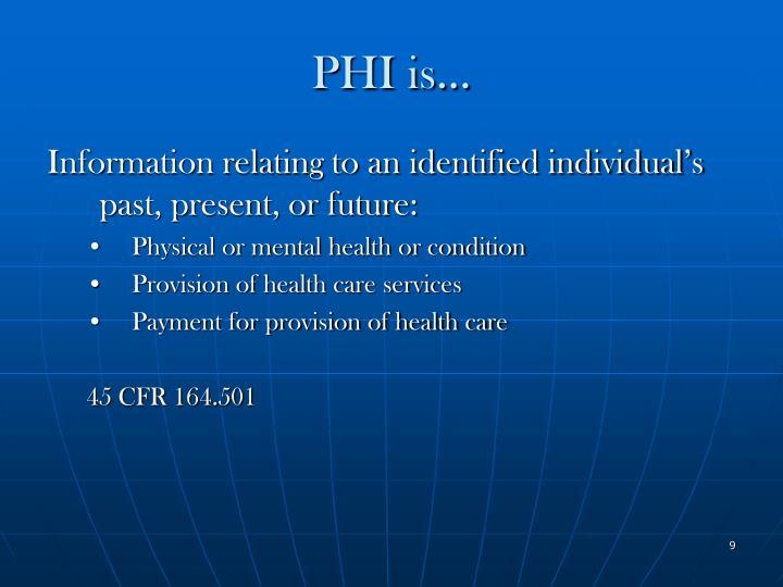 PHI is…
