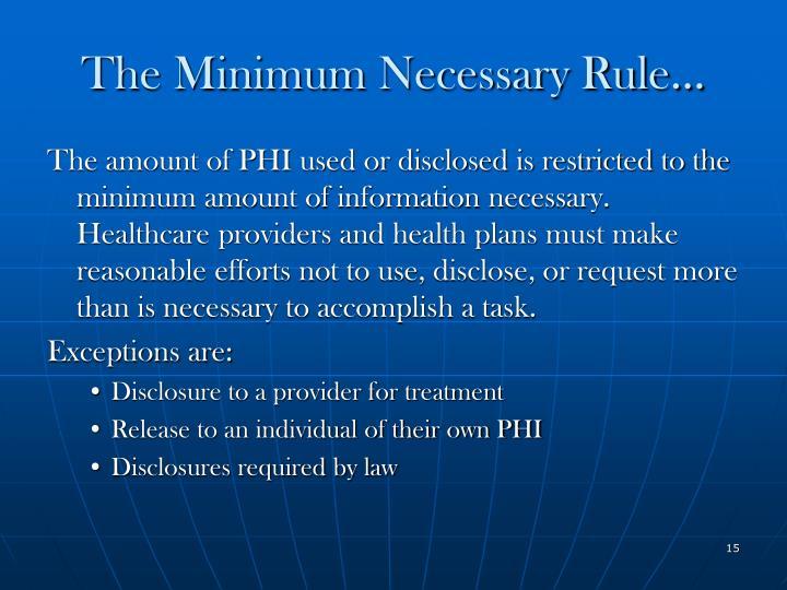 The Minimum Necessary Rule…