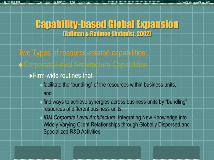 Capability-based Global Expansion