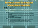 resource based strategy and international expansion1