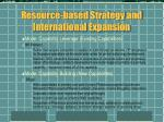resource based strategy and international expansion5