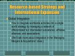 resource based strategy and international expansion6
