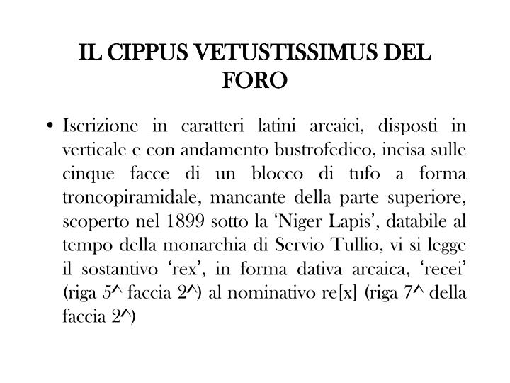 IL CIPPUS VETUSTISSIMUS DEL FORO