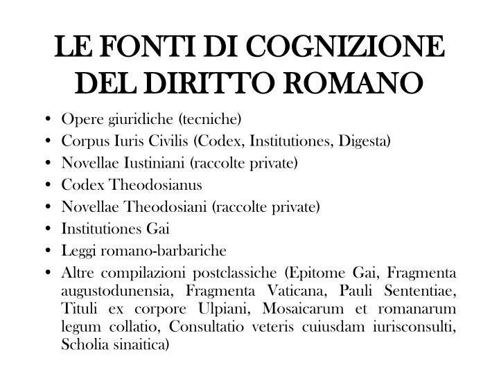 LE FONTI DI COGNIZIONE DEL DIRITTO ROMANO