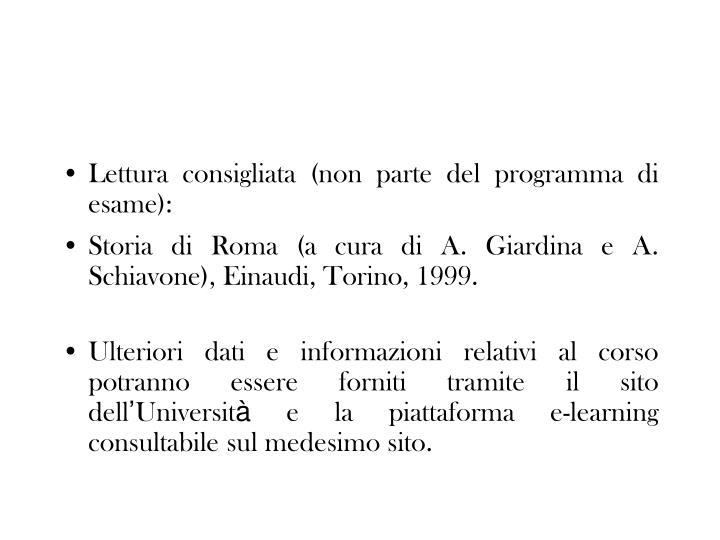 Lettura consigliata (non parte del programma di esame):
