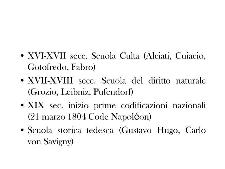 XVI-XVII secc. Scuola Culta (Alciati, Cuiacio, Gotofredo, Fabro)