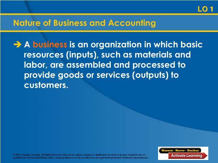 Nature of business and accounting
