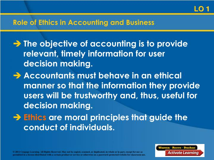 Role of Ethics in Accounting and Business